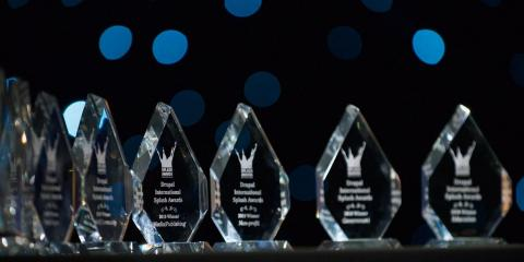 International Splash Awards glass trophies close up