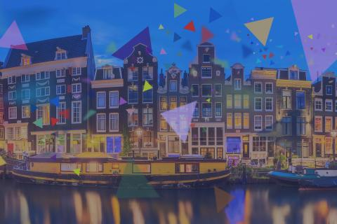 Amsterdam canals with colored polygons overlay